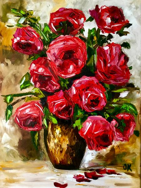 Bouquet of red roses in a vase  by Olga  Koval