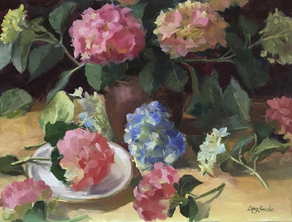 Passionate Hydrangea (Framed) by Ling Strube