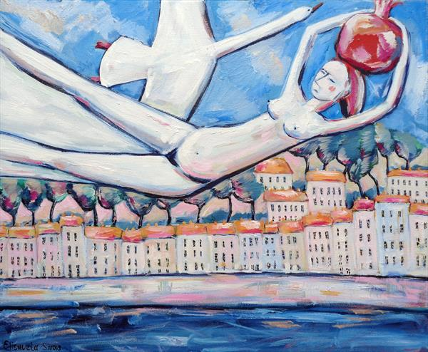 GIRL FLYING WITH GOOSE and MAGIC POMEGRANATES by Elisaveta Sivas