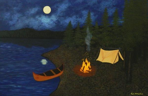 Path of The Spirits - nightscape camp painting by Liza Wheeler