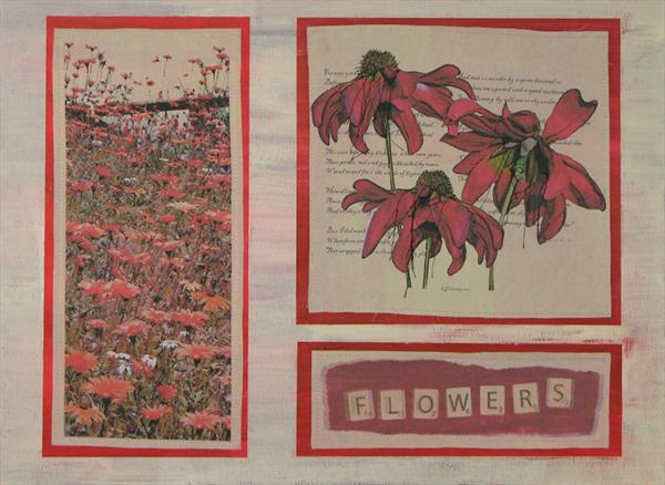 Flowers in Scrabble by Linda Calverley