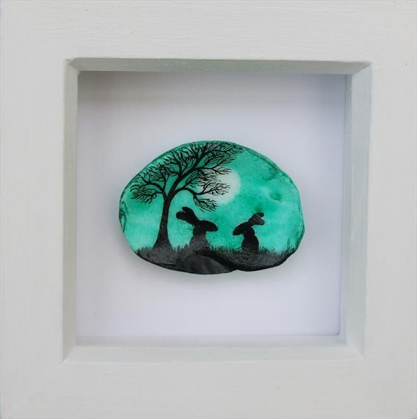 Hares Painting on Shell (Framed)