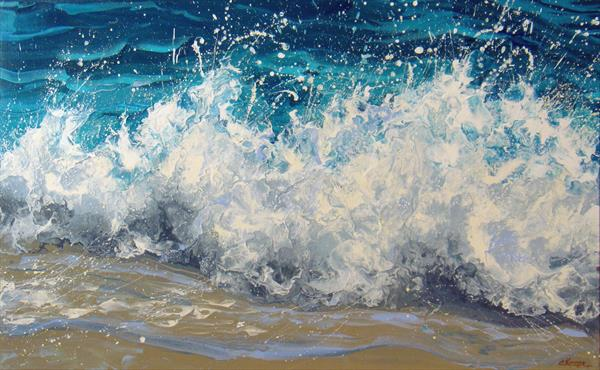 """White waves"" Large painting by Irini Karpikioti"