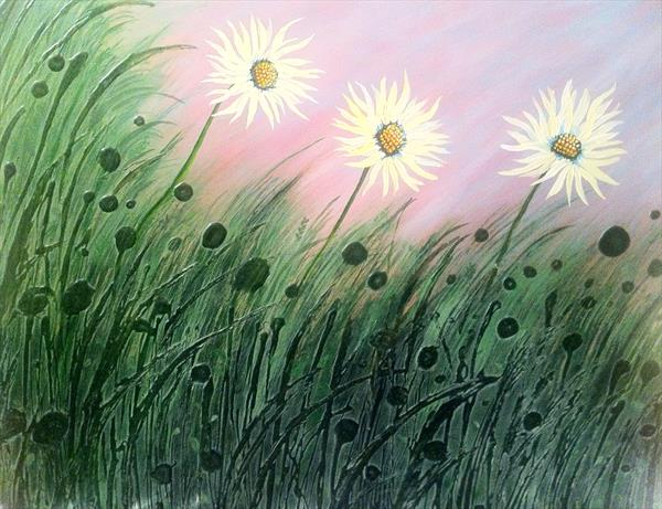 Daisies in Grass by Faye Giblin
