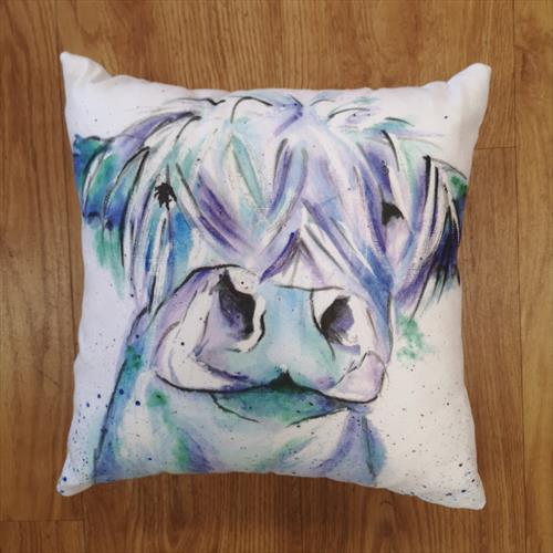 Blue Moo, Cow Cotton Canvas Cushion by Eunice Friend