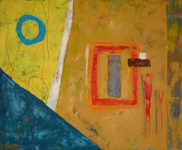 """""""A Try To Match"""". Cold wax and oil. Minimalistic abstract painting."""