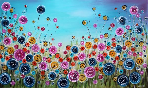 Wonderstorm XVII -Large 100x60cm - Abstract Floral Painting by Cecilia Frigati