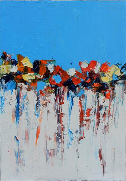 Symphony in blue (small size). Abstract oil painting. Palette knife.  by Vita Schagen