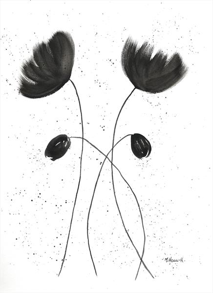 Black and white flowers nr 2  by Monika Howarth