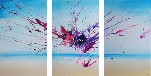 Artist's Beach 2 Triptych (Spirits Of Skies 120064) (160 x 80 cm) XXXL (64 x 32 inches) by Ansgar Dressler