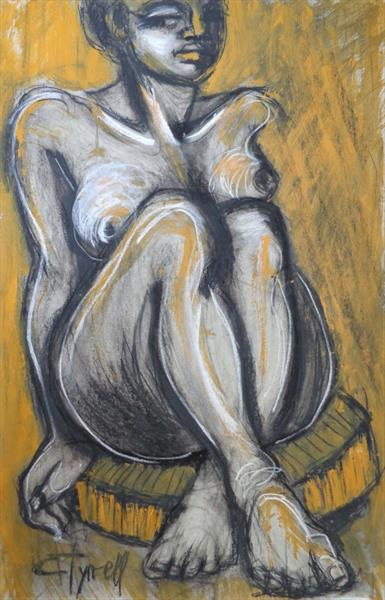 Nude Sitting On Round Chair  by Carmen Tyrrell