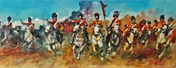 Charge of  the Scots Greys at Waterloo sketch by Will Smith