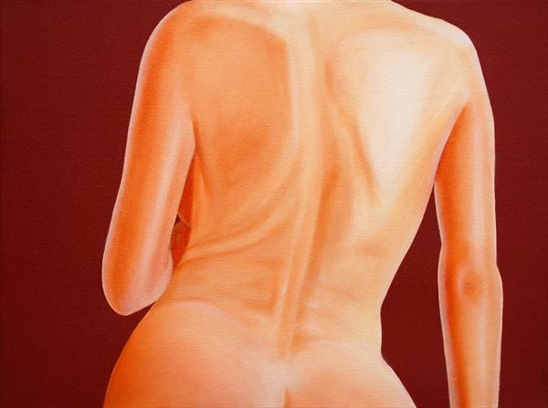 Nude On a Red Background No3 by David Fright