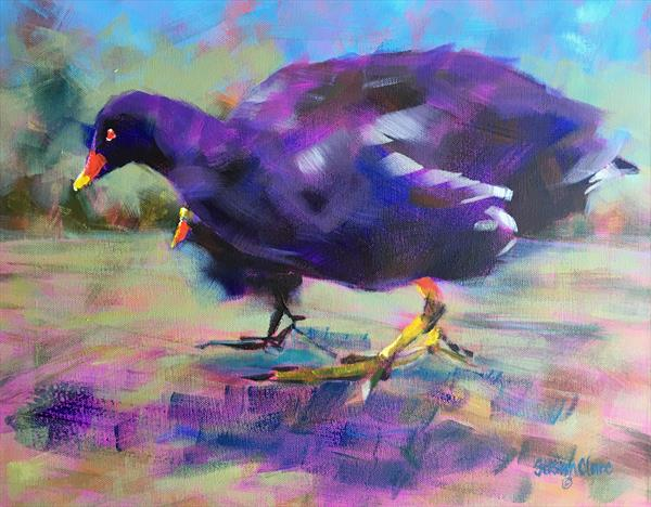 Moorhen & Chick by Susan Clare