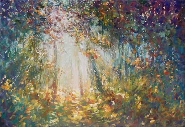 Forest sunshine (on display at The Art Gallery, Tetbury) by Mariusz Kaldowski
