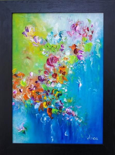 Modern flower painting, abstract flowers painting,original flowers  by Florentina(anca)  popescu