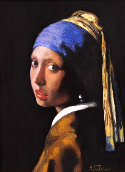 Girl With A Pearl Earring after Johannes Vermeer by John Palmer