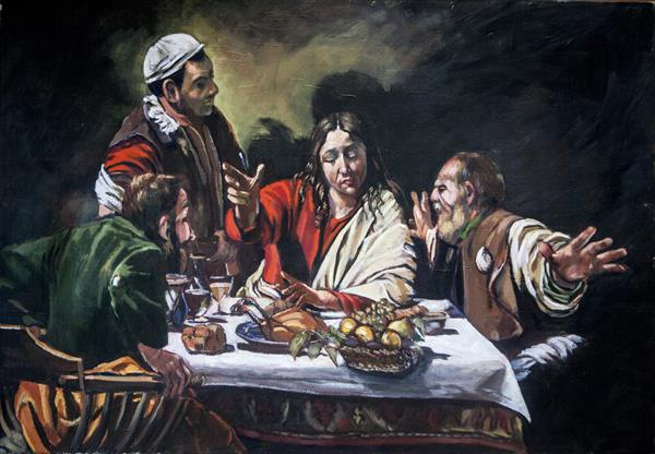 "A copy of Carravagios ""Supper at Emmaus"""