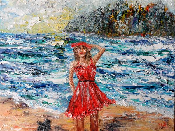 Girl in a red  dress by Mary Ann Day