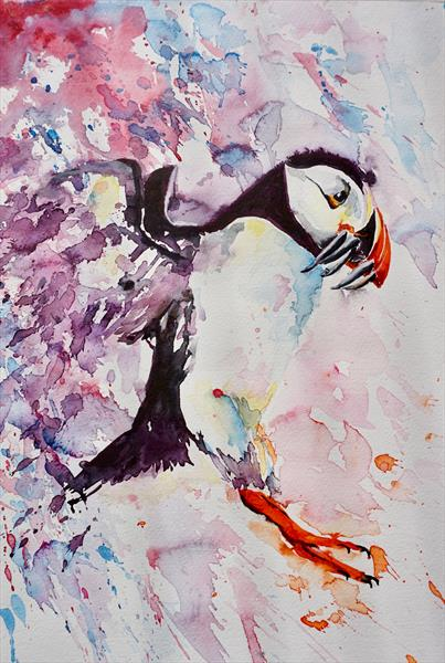 Puffin 'Catch of the day' 30x42cm