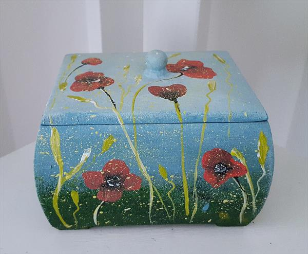 Over The River, Jewellery Box, Hand Painted, Acrylic on Wooden Box by Cinzia Mancini