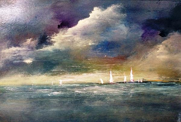 Dark Skies Sombre And Lonely V Impressionist Oil on card  by Maxine Martin