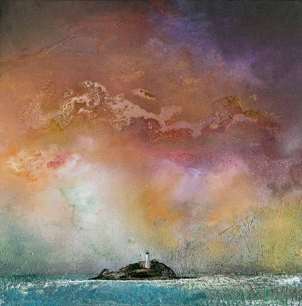 Rainbow Sky over Godrevy by Diane Griffiths