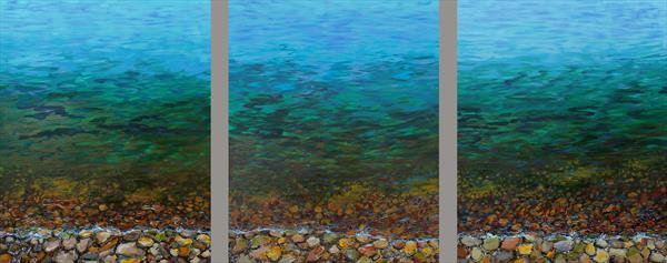 Pebbles Triptych by Sandra Francis