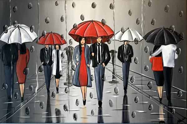 Umbrellas And The Rain 2 by Aisha Haider