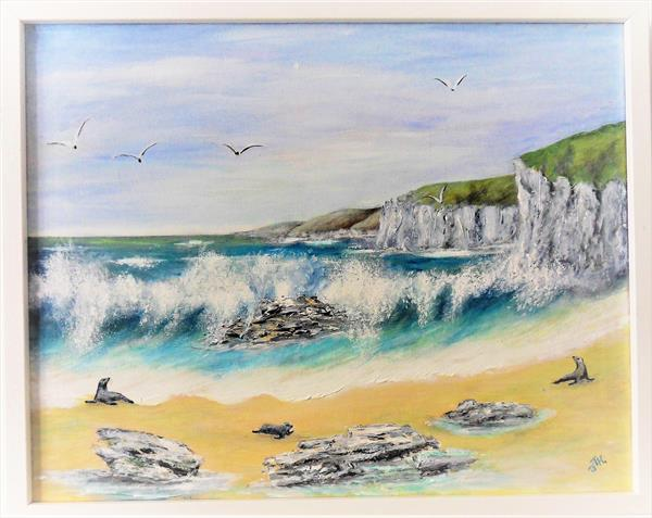 Seals on the beach by Joanne Tharby-Hammond