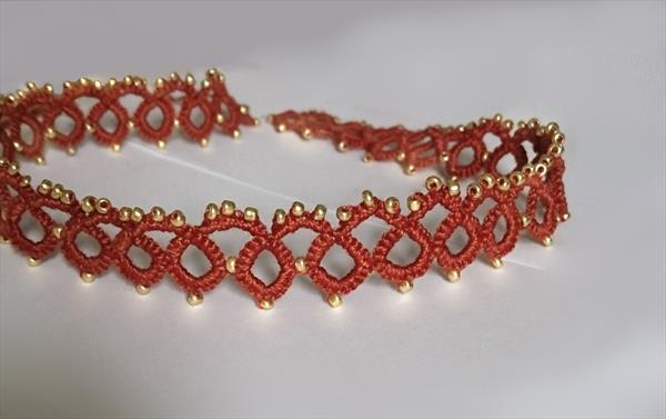 Frivolite lace tatting lace necklace, choker by Susana Zarate