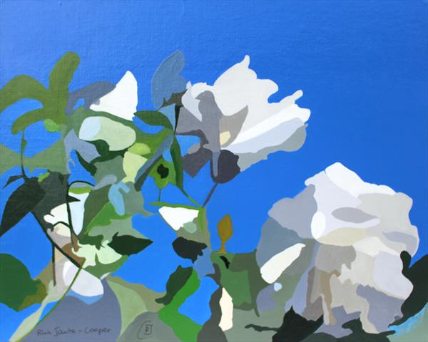 White Roses of York II - Pontefract Gardens - abstract flowers by Rhia J Cooper