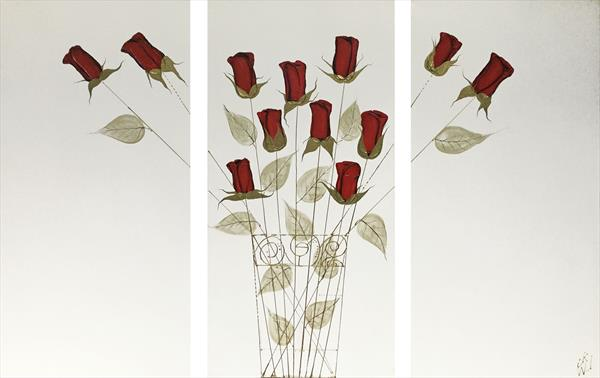 Love Roses Triptych by Carol Wood