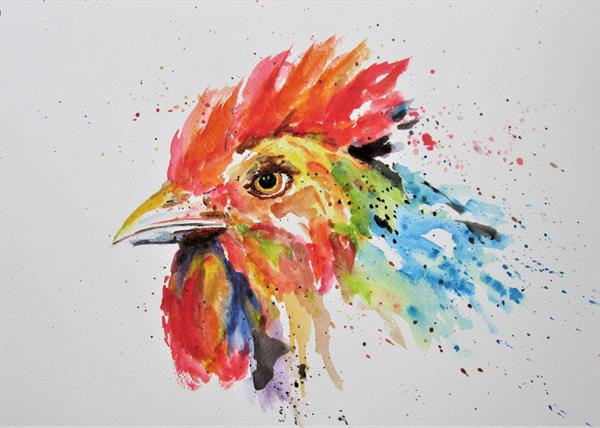 Rooster Portrait. Chicken by Marjan's Art