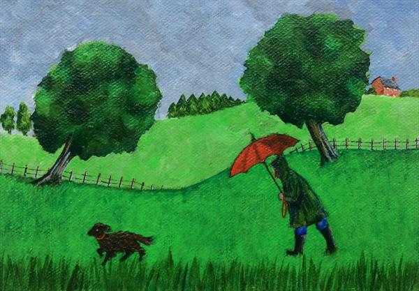 Walking the dog in the rain by Teresa Hodges