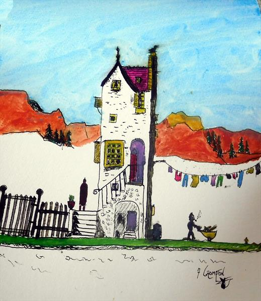 A Tall house   (UNFRAMED) by Frank Crompton