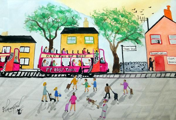PennyPeople at the bus stop (UNFRAMED) by Frank Crompton
