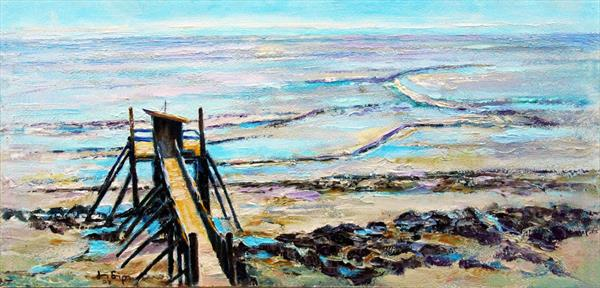 Fishing Hut at Low Tide by Jean Simpson