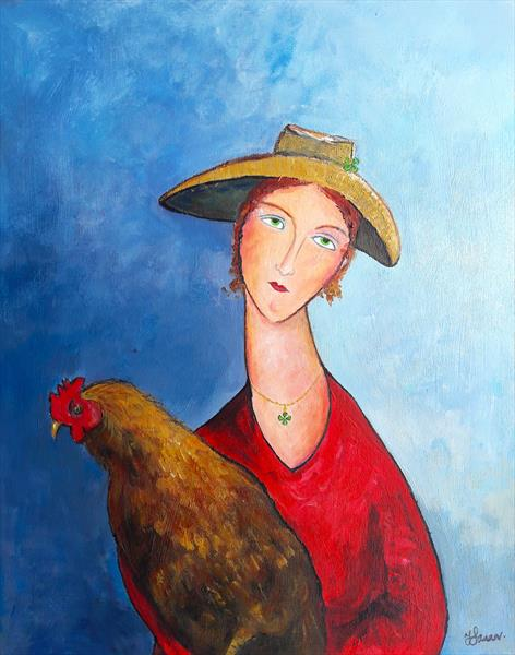 Woman Straw Hat & Chicken
