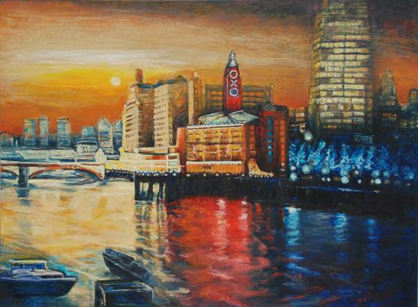 Oxo Tower London cityscape by Patricia Clements