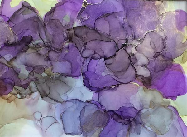 Black Dahlia Abstract Floral ink painting  by Maxine Martin