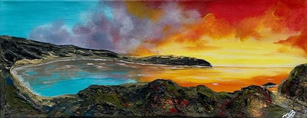 Lulworth Cove on a small Panoramic Canvas by Marja Brown