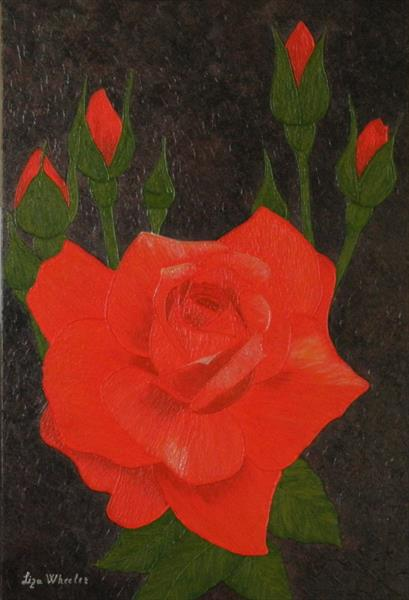 A Twinkle - modern red rose floral painting by Liza Wheeler