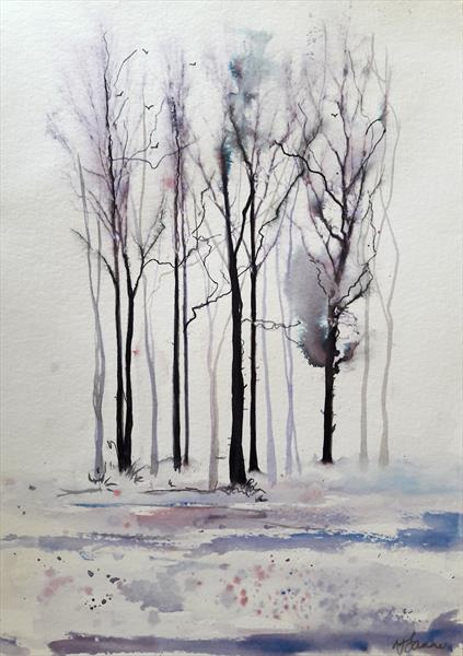 Delicate winter trees by Teresa Tanner