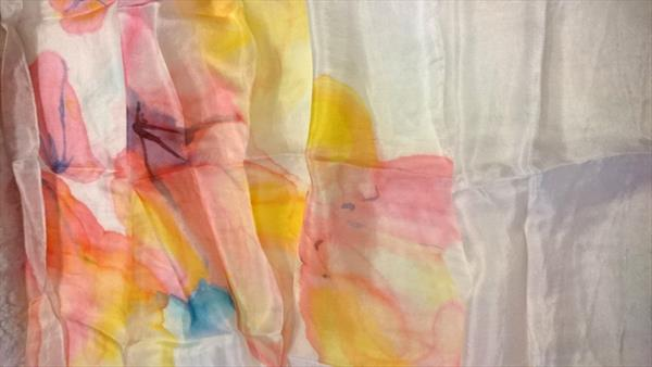 Handpainted Silk Scarf  N.11 , Yellow and red by Susana Zarate