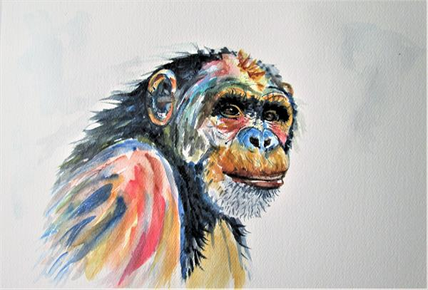 Chimpanzee Monkey, Ape, Primate by Marjan's Art