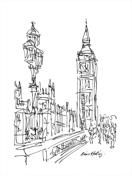 Westminster Bridge London (Sketch) by Brian Keating