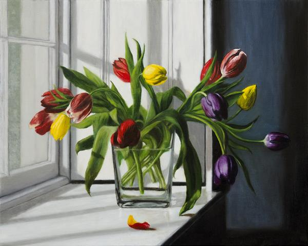 Red, Yellow and Purple Tulips (II) by Andrew Mcneile Jones
