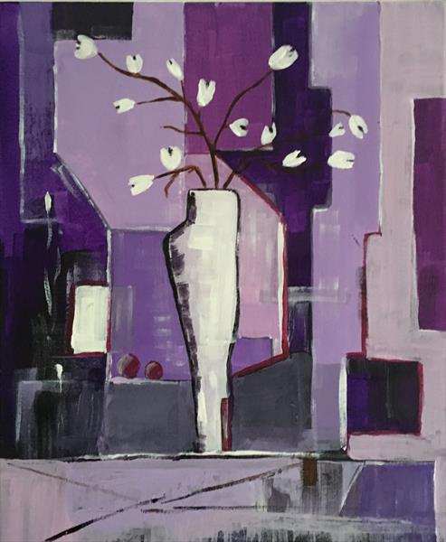 Abstract vase with flowers by Nineke Havinga