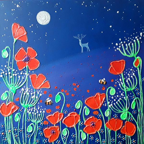 Poppies in Moonlight by Angie Livingstone